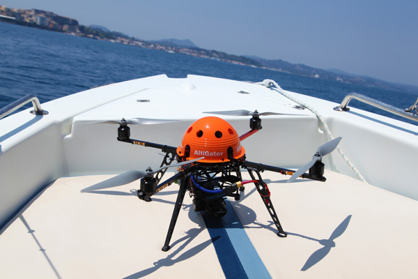 pictures on sea - drone takeoff from a boat