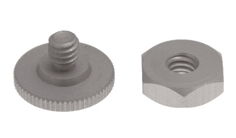 Nut & tripod screw for camera (polished aluminum)